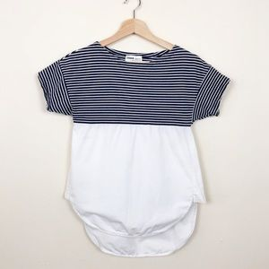 Zara Tops - Zara TRF • Blue Striped Contrast Top • s
